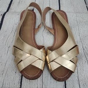 Aldo Gold Strappy Flat Sandals Shoes 7.5